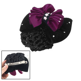Lady Dark Fuchsia Black Flower Embellished Bowknot Hair Clip w Hairnet