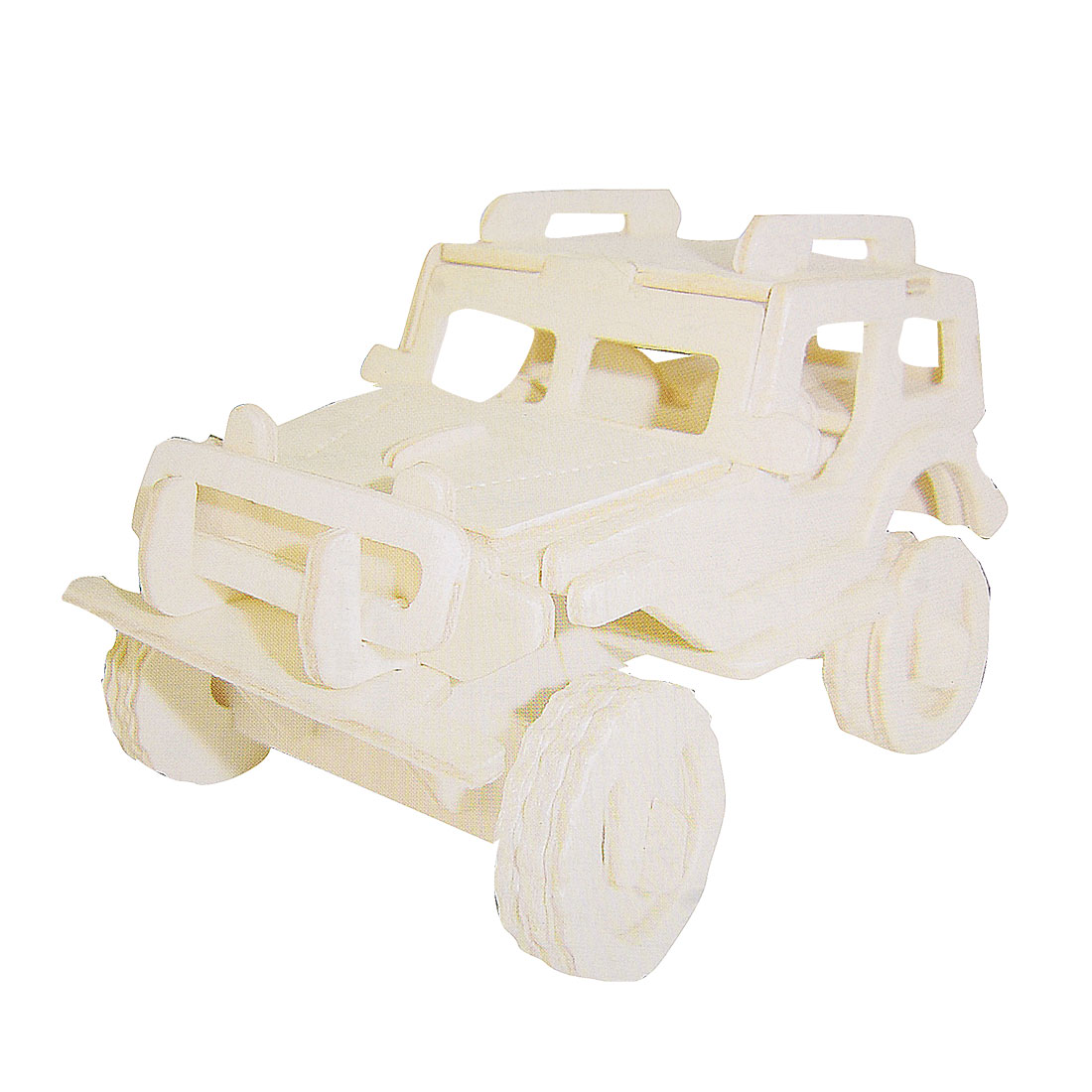 Child DIY Jeep Car Wooden Construction Kit Woodcraft Puzzle Toy Gift