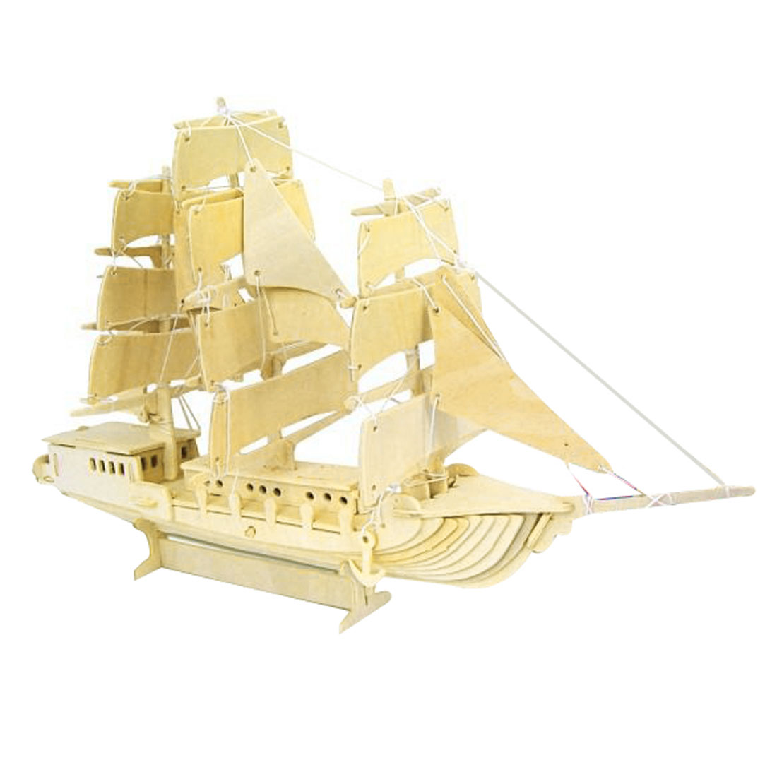 Child Sailing Boat Model Wooden Construction Kit Puzzle Toy Gift