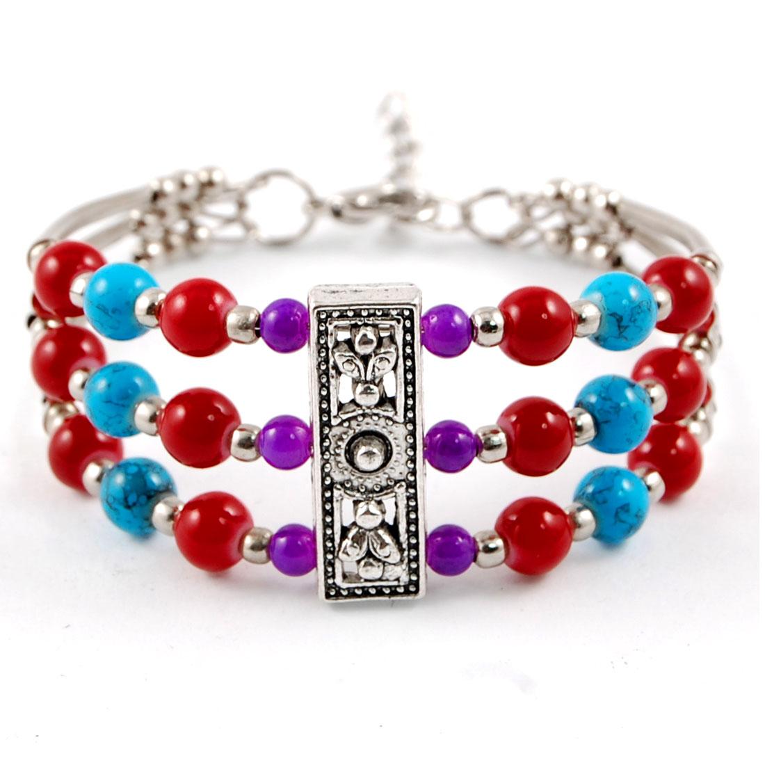 Lobster Clasp Multilayer 4 Colors Round Bead Wrist Bracelet Bangle