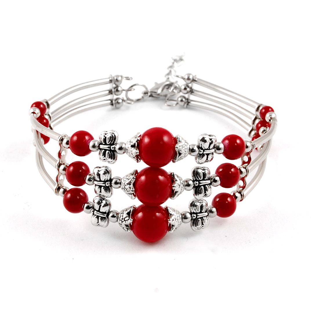 Metal Butterfly Decor Multi Layer Wrist Bracelet Bangle Silver Tone Red