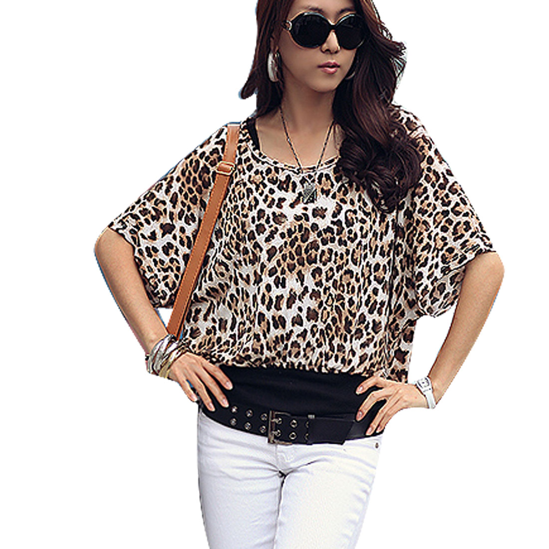 Coffee Color Leopard Print Boat Neck Bat Sleeve Blouse XS for Women