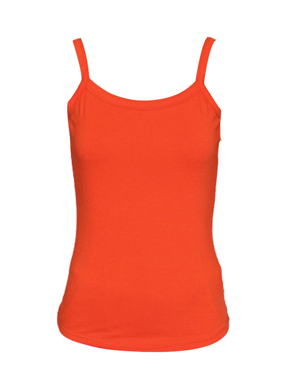 Orange Slim Strap Regular Length Stretchy Tank Top XS for Women