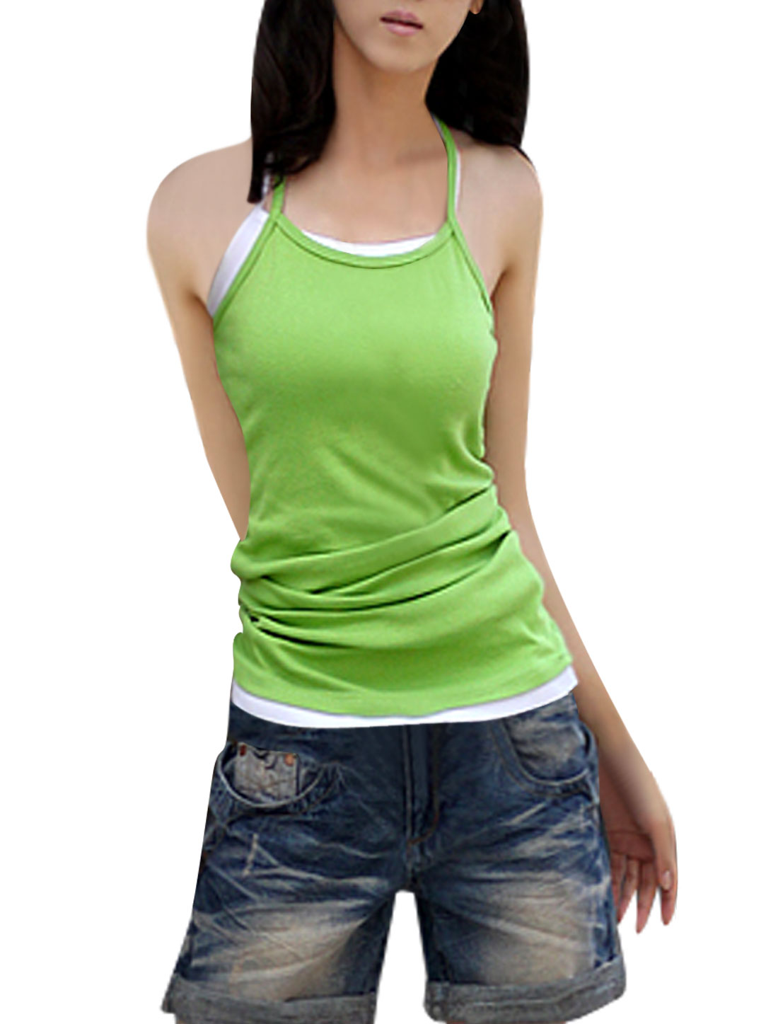 Green Square Neckline Slim Strap Pullover Tank Top XS for Lady