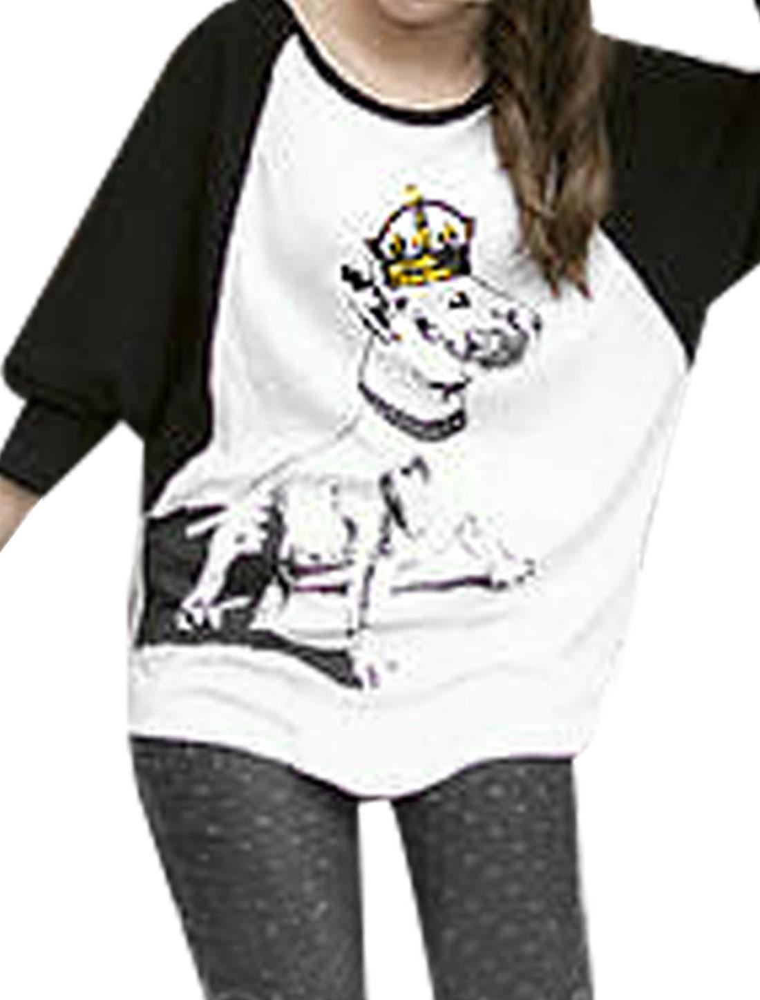 Crown Dog Print Front Raglan Sleeve Arc Hem White Black Shirt S for Women