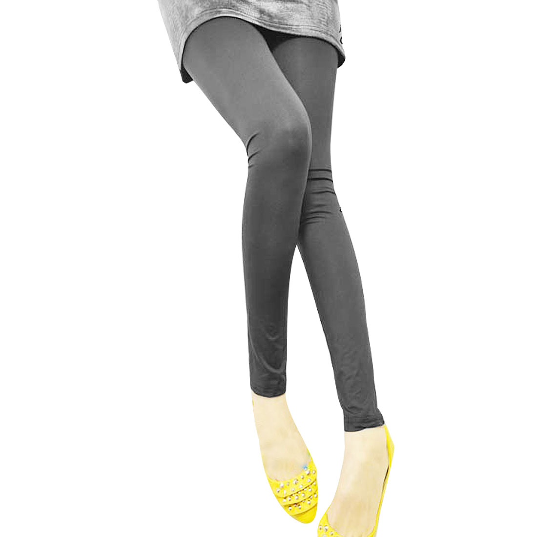 Women Dark Gray Elastic Waist Close-fitting Leggings Pants XS