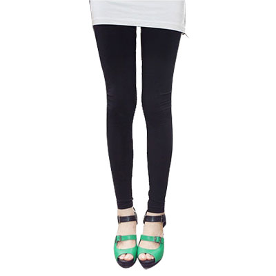 Women Elastic Waist Skinny Leggings Hugging Tights Black XS