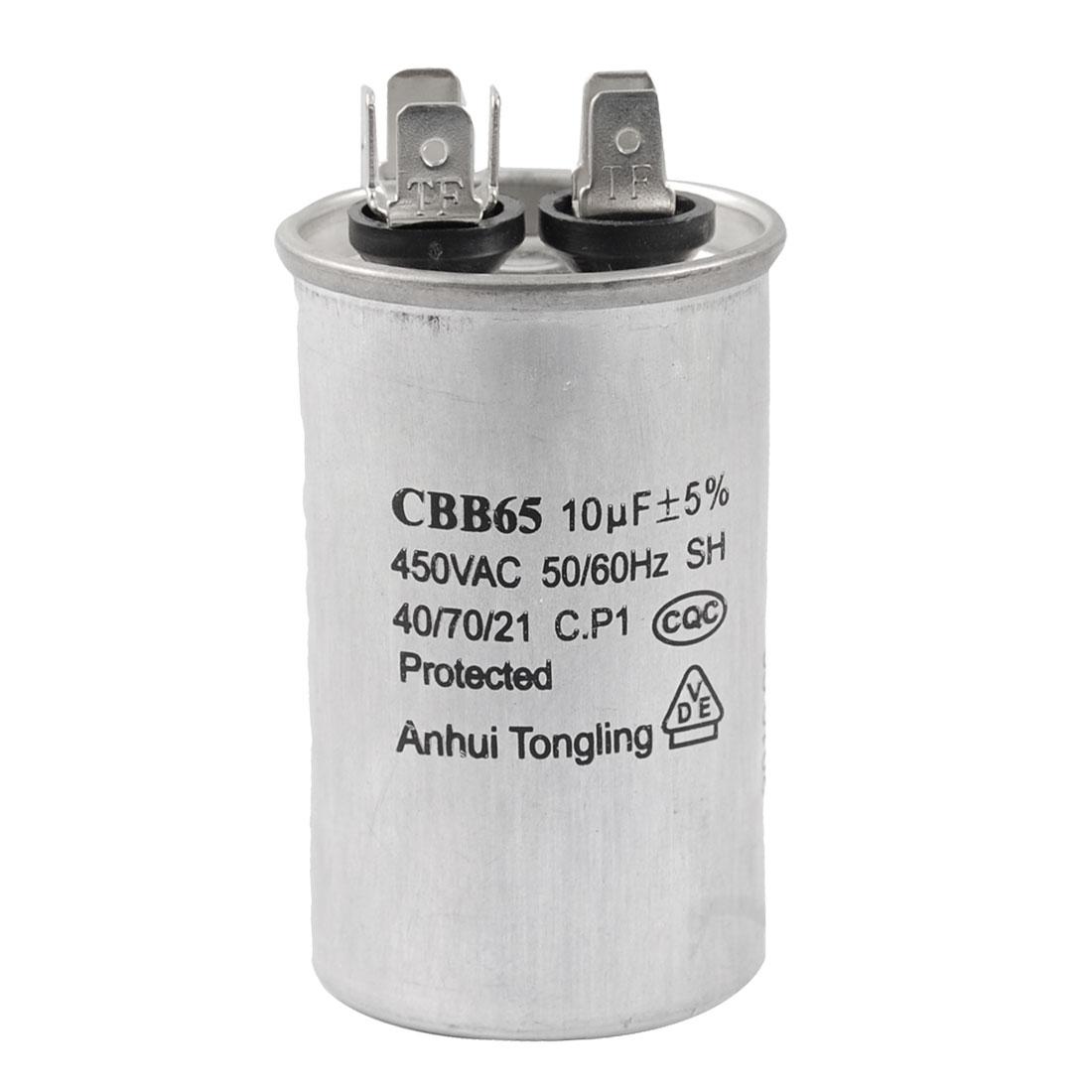 CBB65 10uF 50/60Hz Cylinder Motor Run Capacitor AC 450V