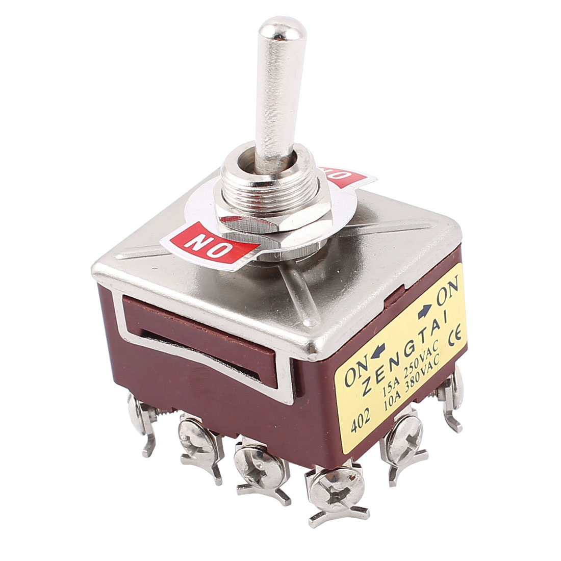 AC 15A/250V 10A/380V 12 Screw Terminals On/On 4PDT Toggle Switch