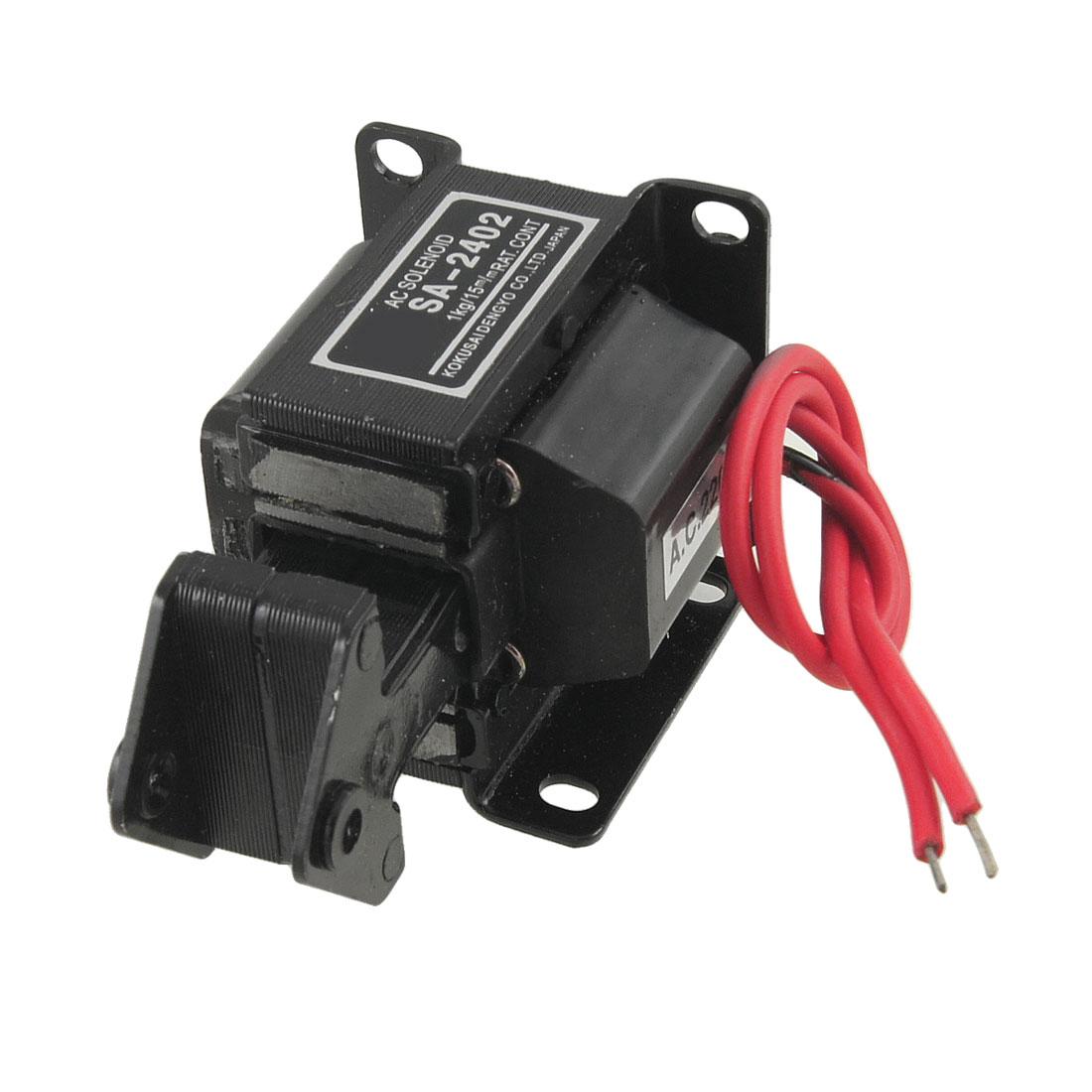 15mm Stroke Tractive Electromagnet AC Solenoid Lift 1Kg 220V