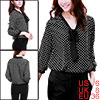Women Black White Dots Semi Sheer 3/4 Sleeve Chiffon Tie-bow Neck Blouse S