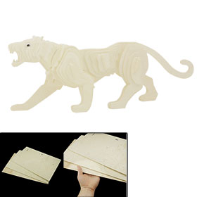 Children Gift Wooden 3D Tiger Model Construction Kit DIY Puzzle Toy