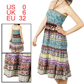 Women Smocked Bust Self Tie Strap Halter Neck Ethnic Pattern Dress XS