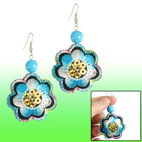 Lady Sequin Accent Embroidery Blue Flower Dangle Eardrop Hook Earrings