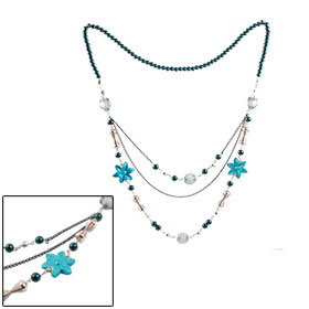 Woman Teal Blue Round Beads Sweater Dress Necklace Jewelry Gift