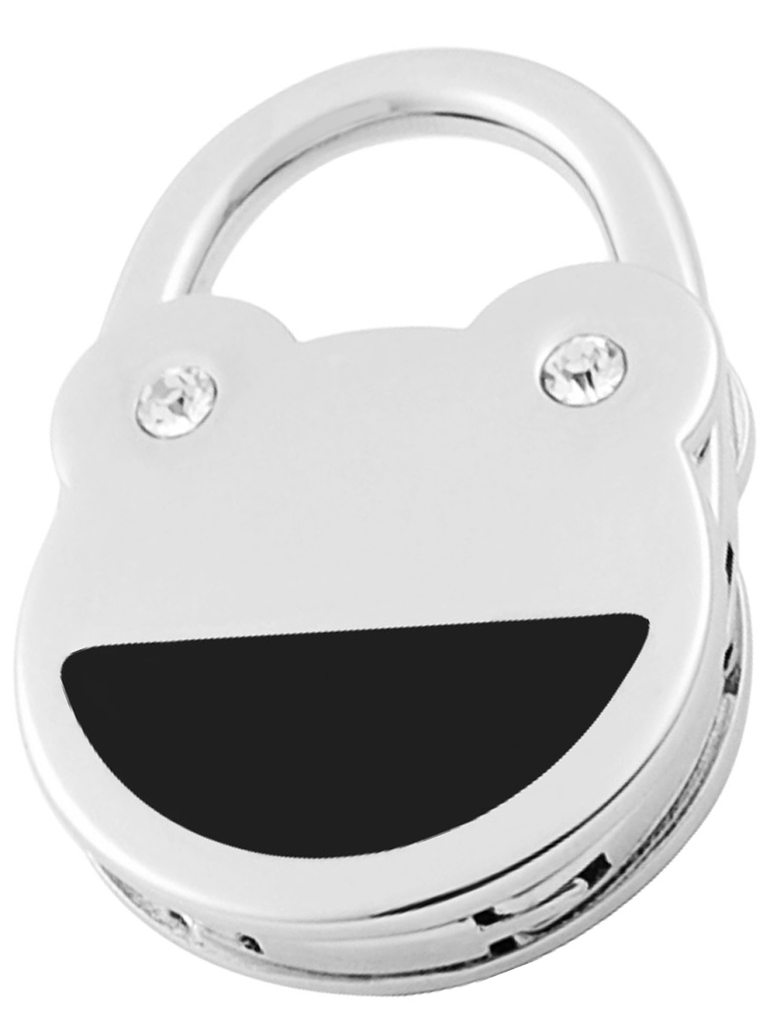 Black Silver Tone Rhinestone Detials Frog Foldable Handbag Hanger Hook