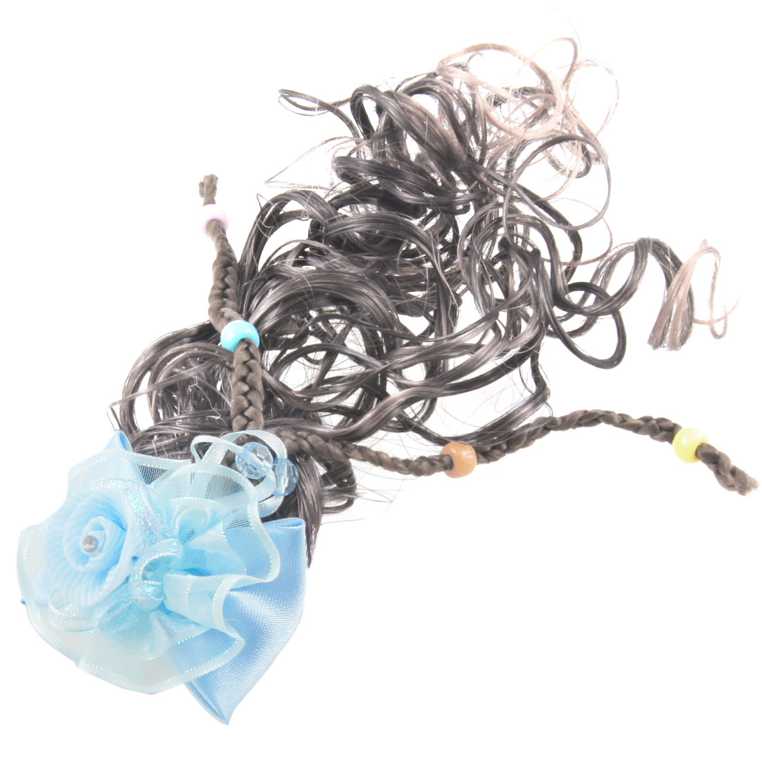 Baby Blue Bowknot Flower Accent Brown Curly Wig Fall Hairpin Hairpieces
