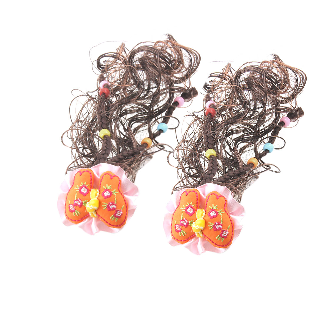 Pair Kids Flower Bowknot Brown Curly Wig Fall Hairpieces Hair Clips