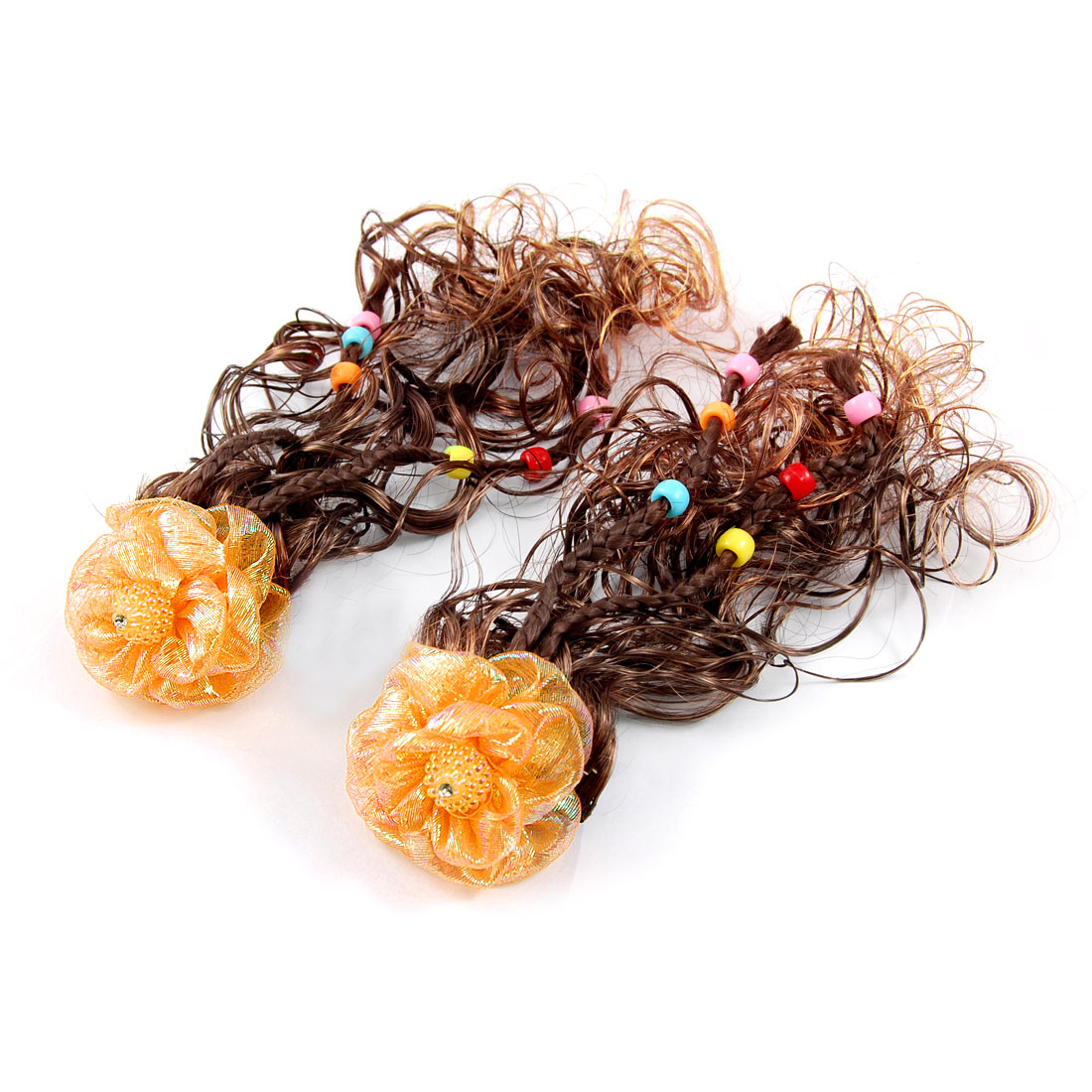Pair Faux Pearl Decor Orange Flower Clip Brown Curly Wig Hairpiece for Girls