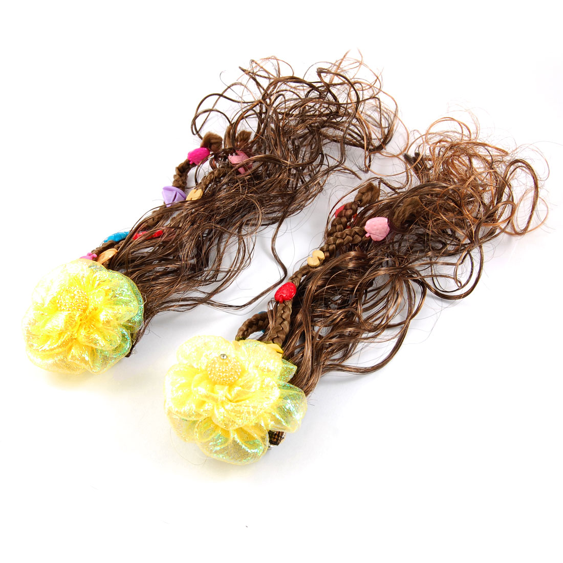 Faux Pearl Decor Yellow Flower Clip Brown Curly Wig Hairpiece Pair for Girls