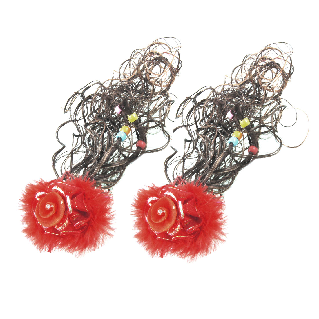 2 Pcs Brown Plait Wavy Wig Red Flower Faux Feather French Clip for Kids Girl