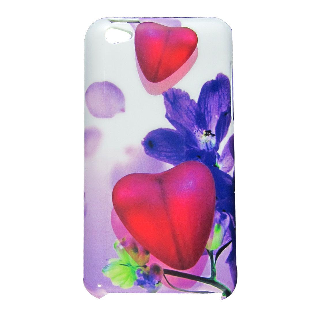 Heart Pattern Purple Flower White Plastic IMD Back Case for iPod Touch 4
