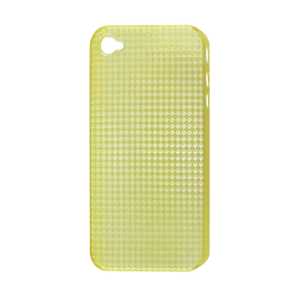 Yellow Rhombic Plastic Back Case for iPhone 4 4G 4S 4GS