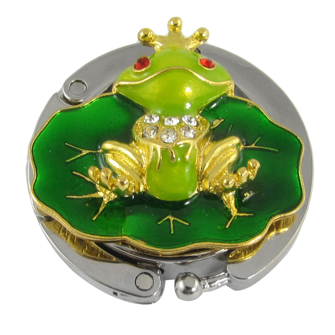 Cute Gold Tone Green Frog Purse Bag Handbag Hanger Hook Holder