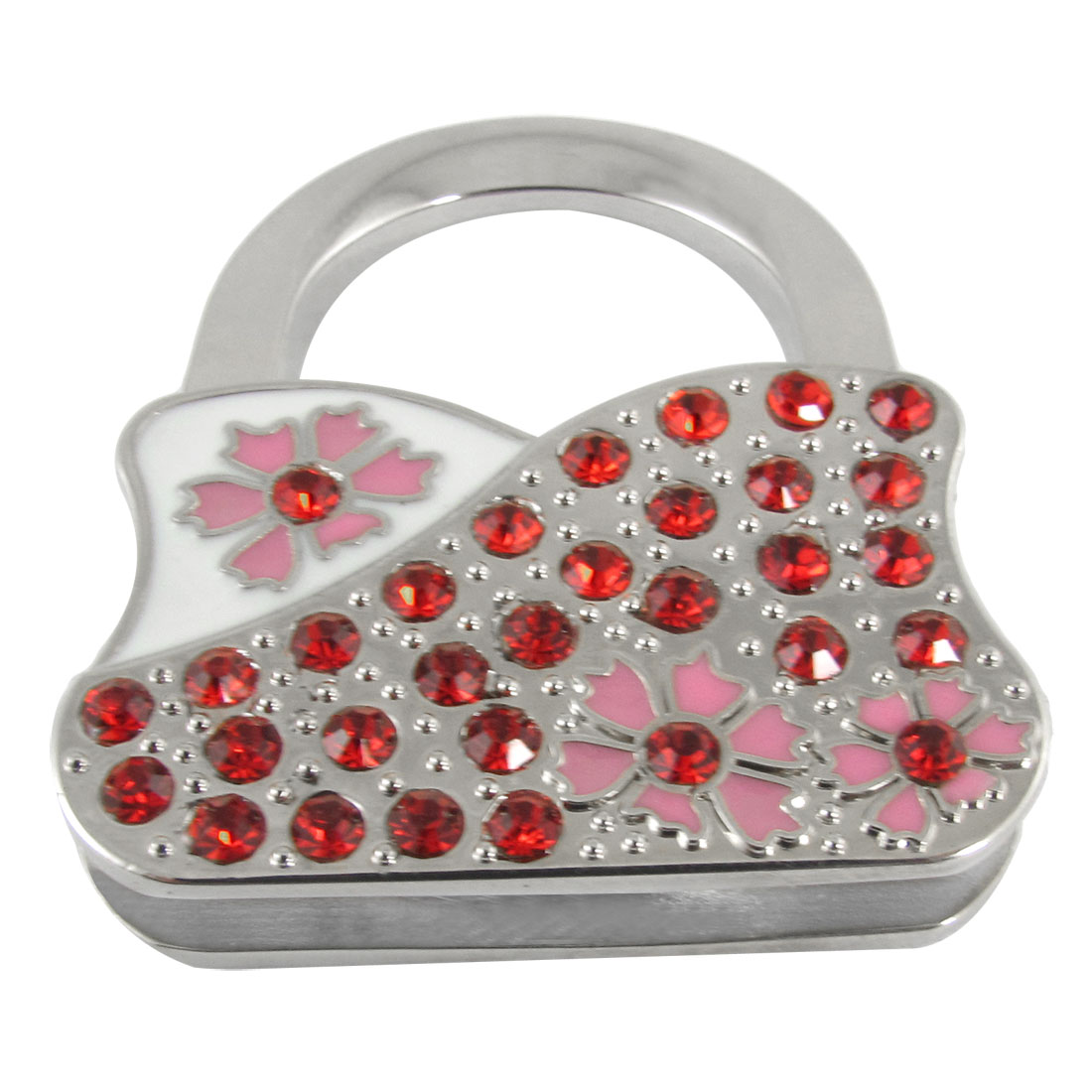 Rhinestone Decor Red Silver Tone Foldable Handbag Shape Hook Hanger