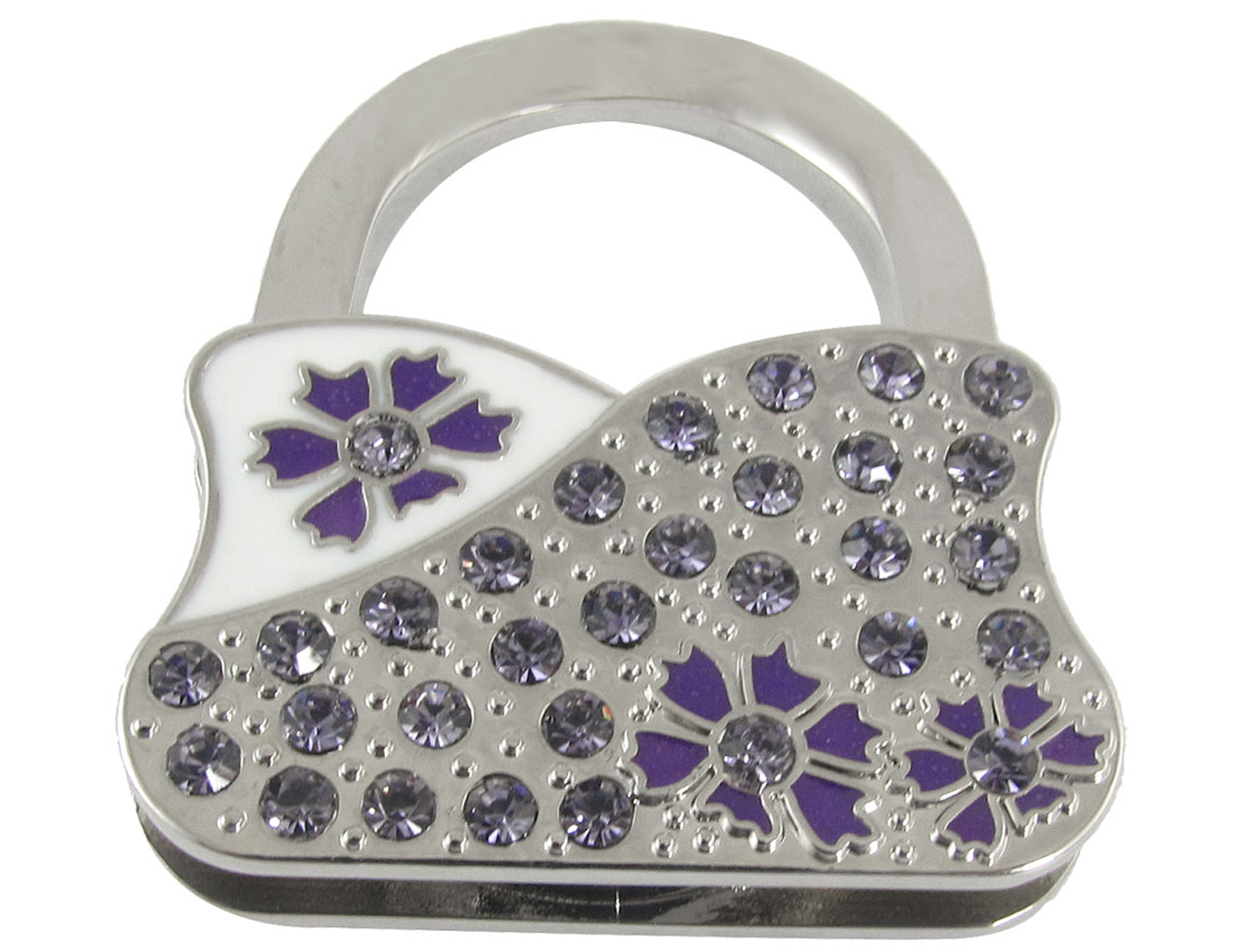 Purple Flower Glitter Rhinestone Bag Shape Foldable Hook for Handbag
