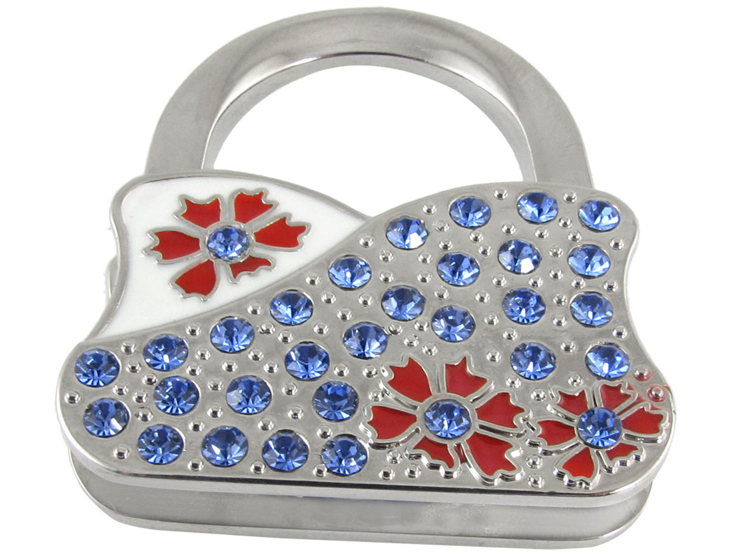 Red Flower Blue Rhinestone Handbag Shape Metal Foldable Hanger Hook