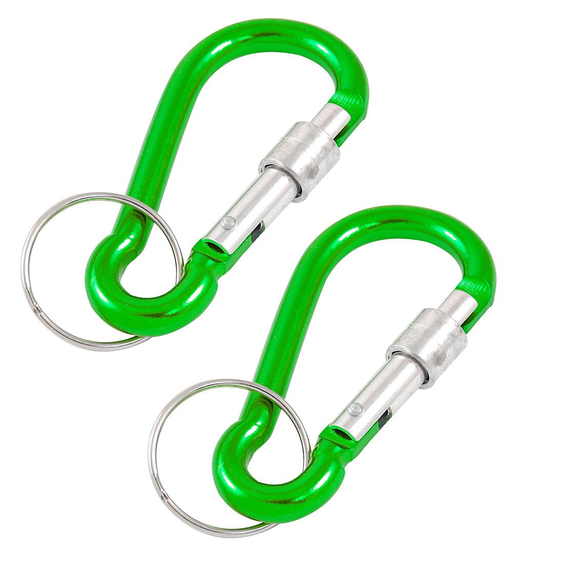 Water Bottle Holder Green Aluminum D Shaped Lock Gate Keyring Carabiner 2pcs