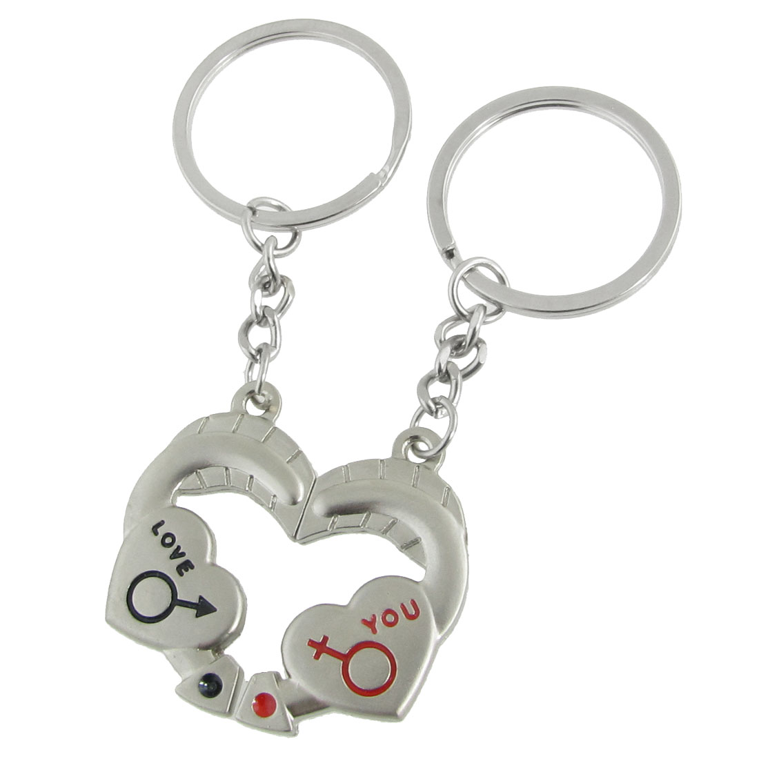 LOVE YOU Heart Shape Key Chain Key Ring for Couples 2 Pcs