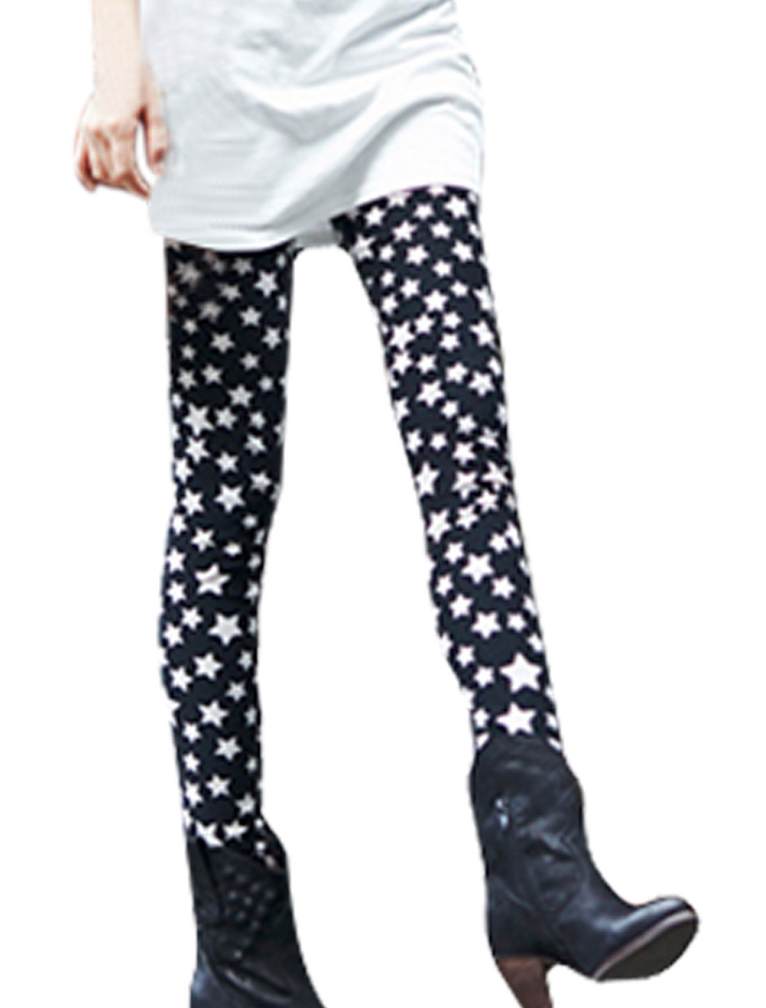 Star Print Elastic Waist Close-fitting Leggings Black XS for Women