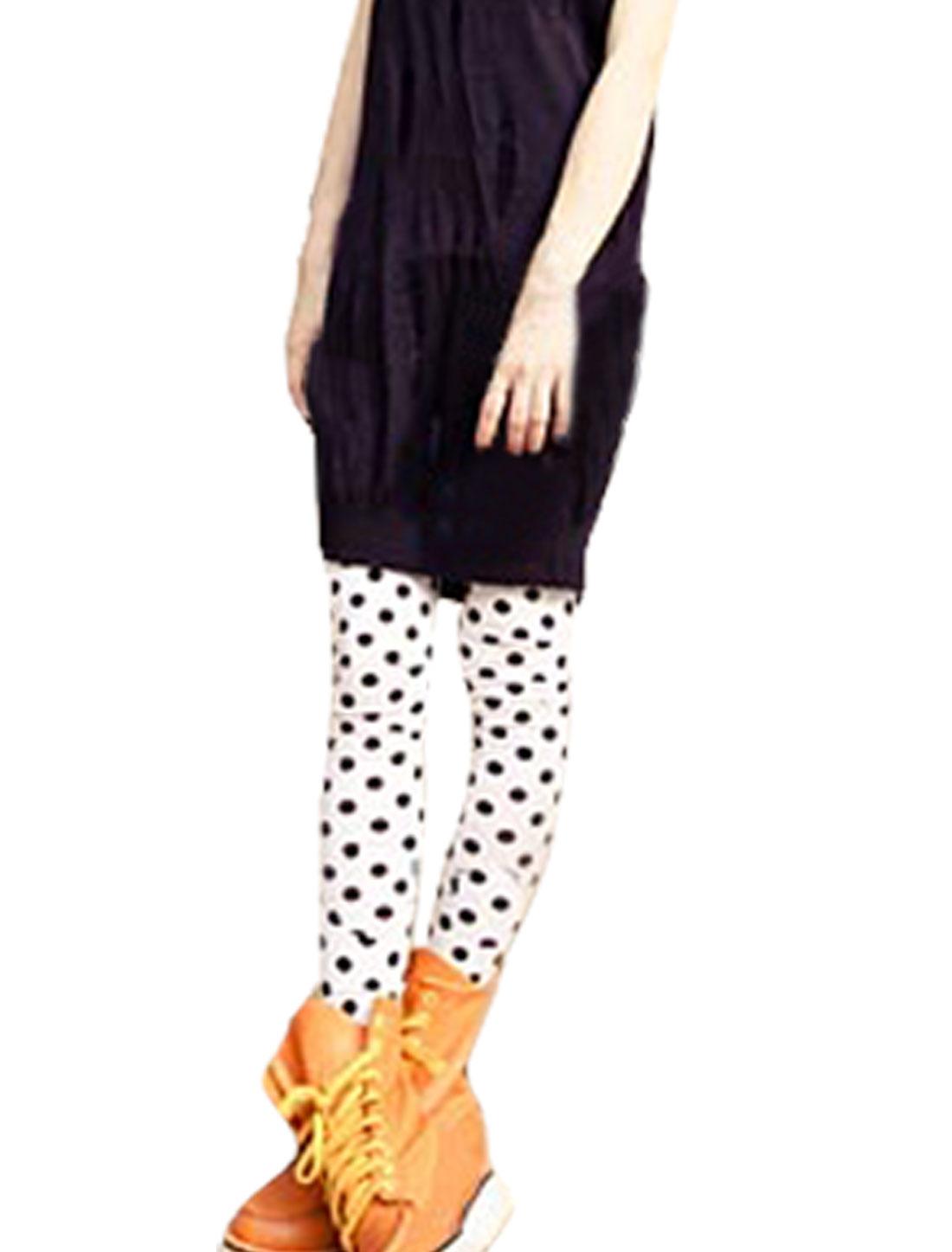 Dots Print Elastic Waist Skinny Leggings White Pants XS for Ladies