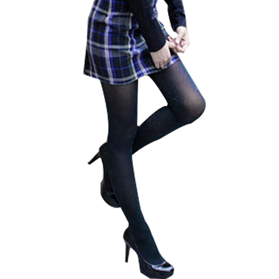 Ladies Elastic Waist Shiny Glossy Blue Glitter Black Pantyhose XS