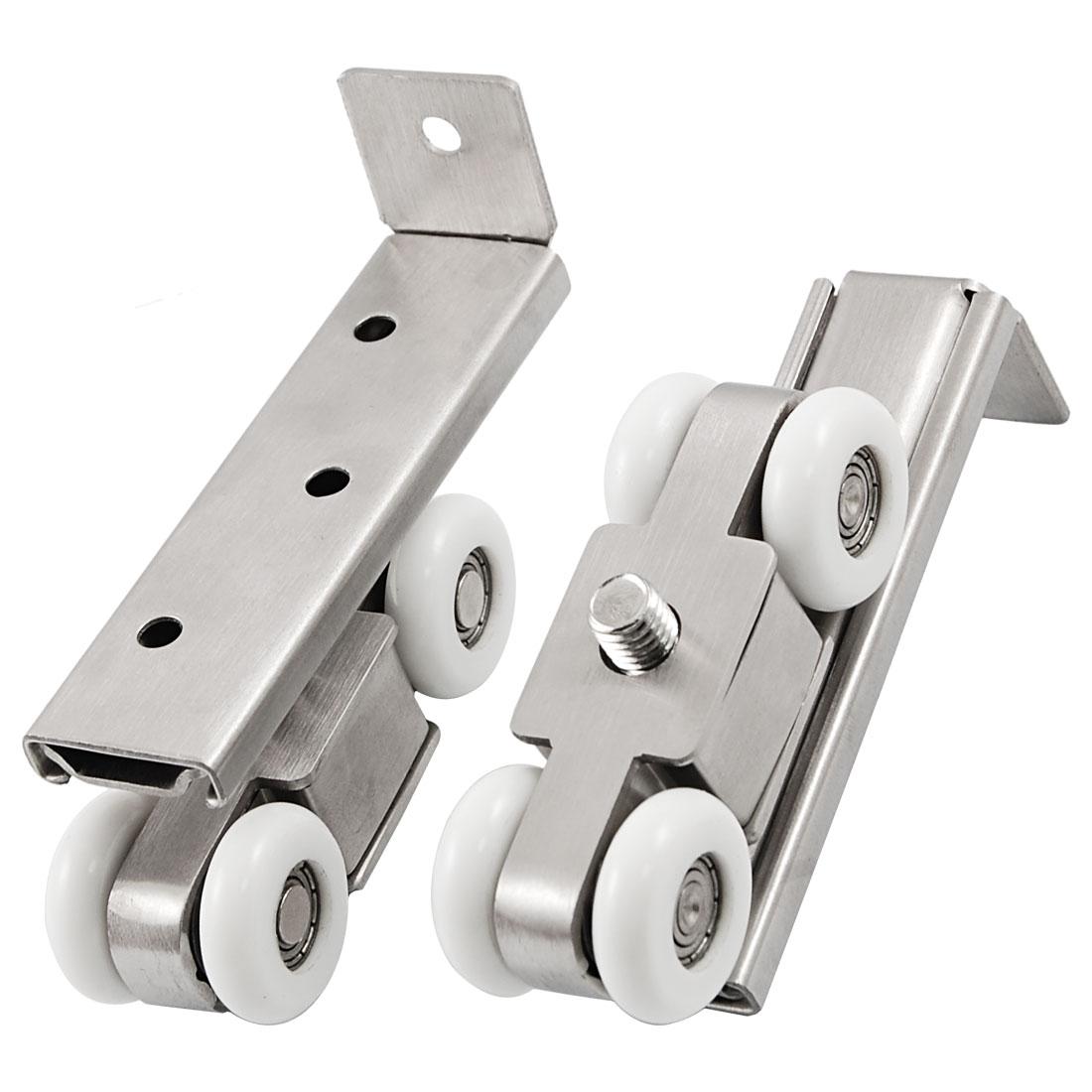 2 Pcs Stainless Steel Ceramic 2.3cm Dia Wheel Sliding Door Roller Silver Tone White