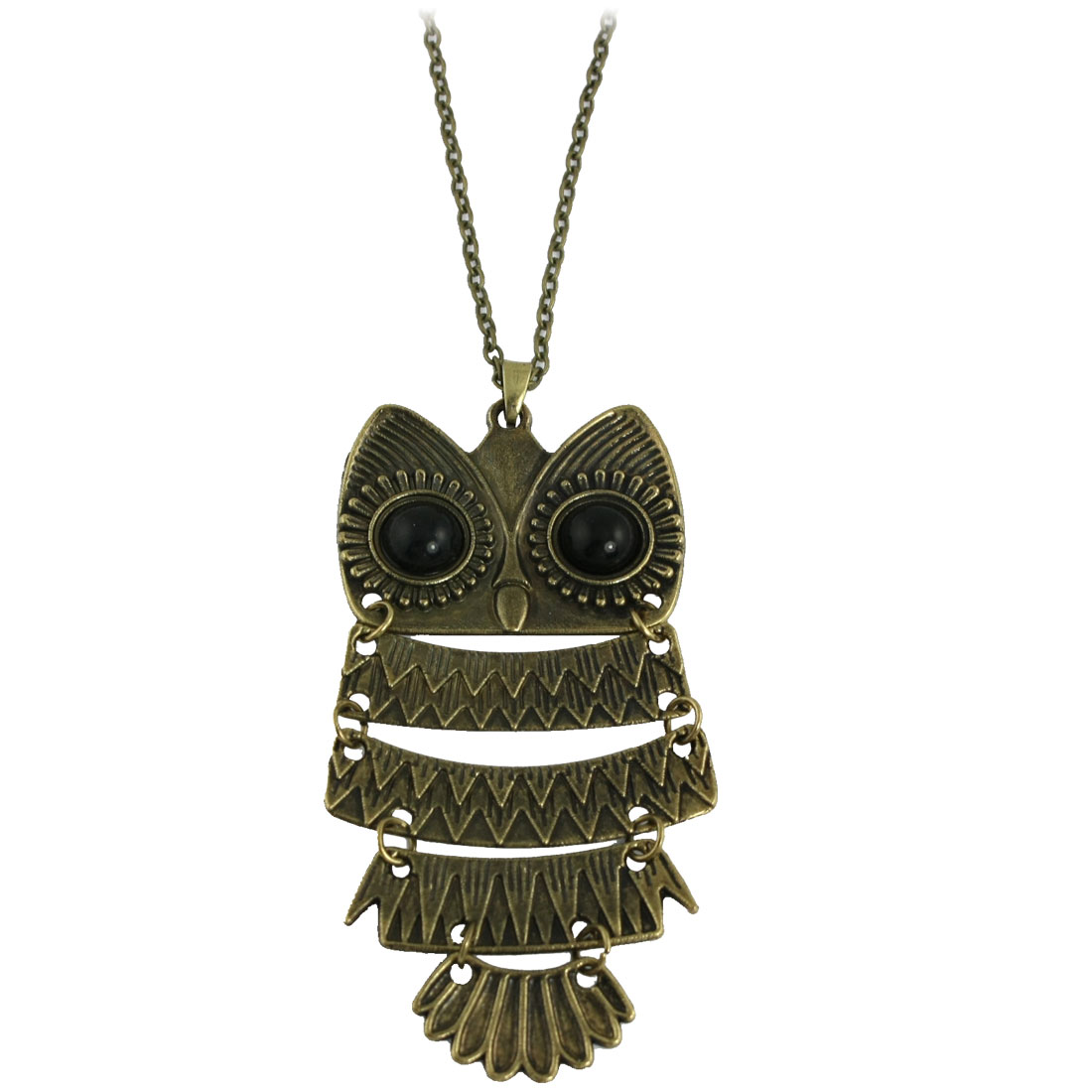 Women Black Beaded Eyes Flexible Owl Pendant Chain Necklace Bronze Tone