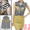 Woman Black White Striped Sequin Detail Sleeveless Shirt S