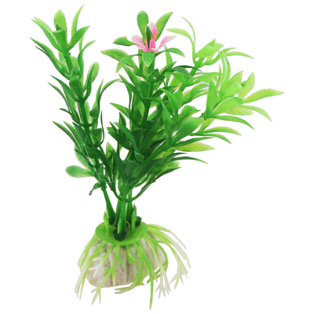 Aquarium Plastic Pink Flower Accent Green Aquatic Plants Decor 10 Pcs