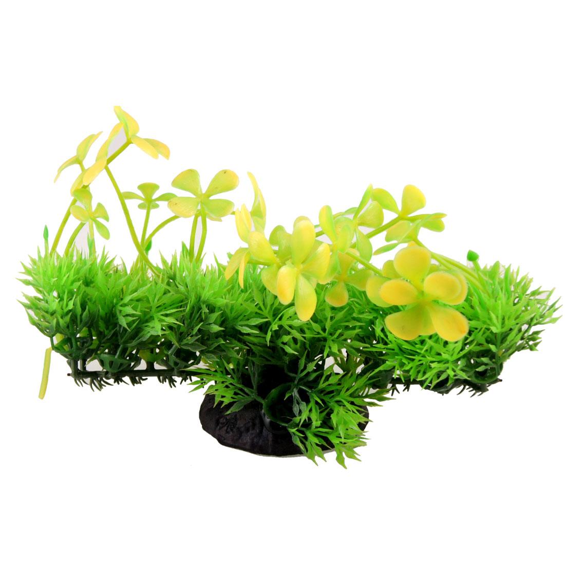 """Aquarium Plastic Yellow Green Clover Top Plant Ornament 7.7"""" Width"""