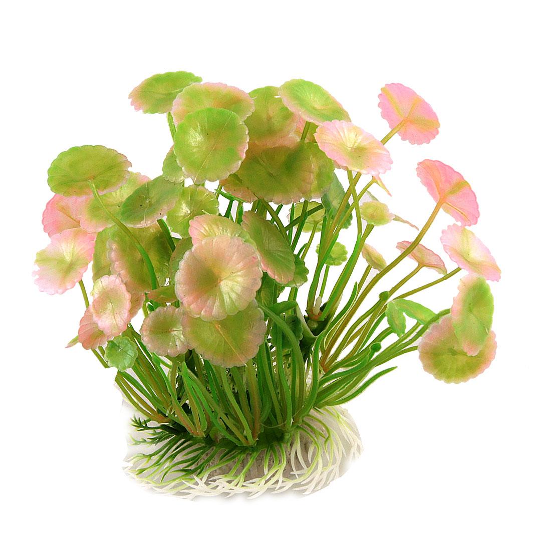 """Aquarium Tanks Artificial Green Pink Round Leaf Aquatic Plants 5.3"""" High"""