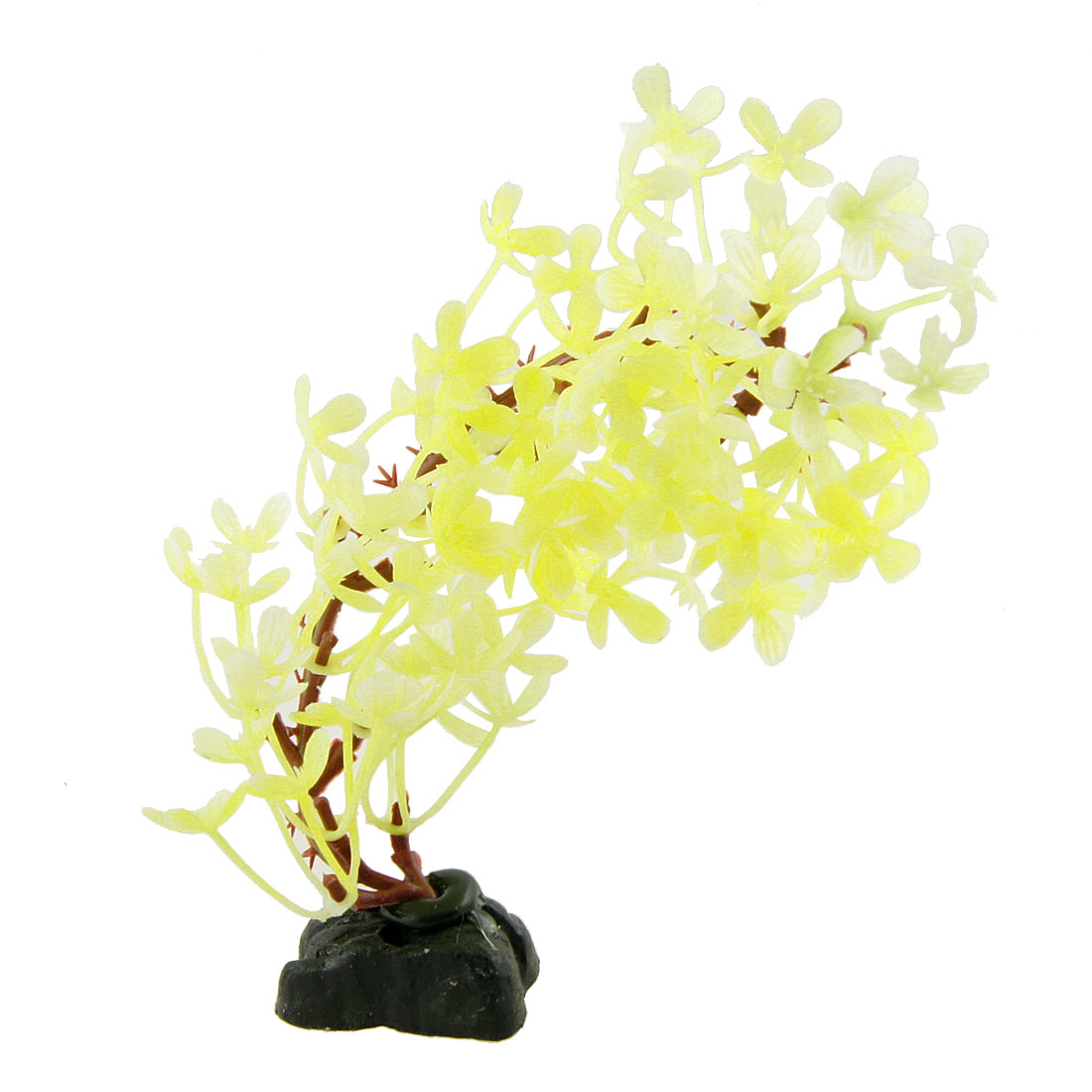 "Aquarium Artificial Twisted Yellow Flower Plants Ornament 6.3"" High"