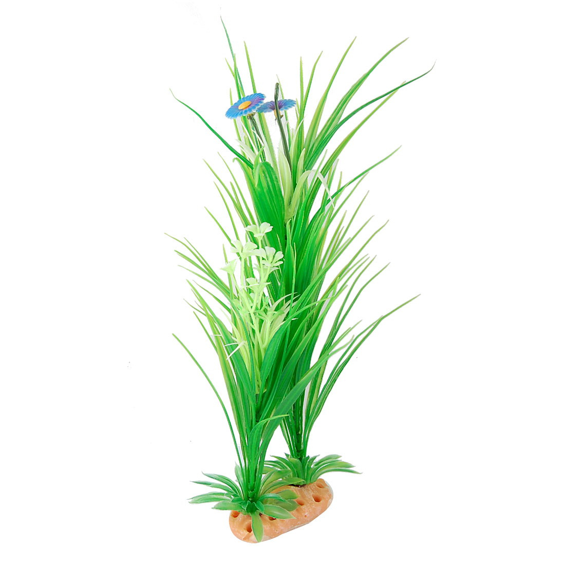 Aquarium Fish Tank Purple Blue Flower Plastic Green Grass Plant
