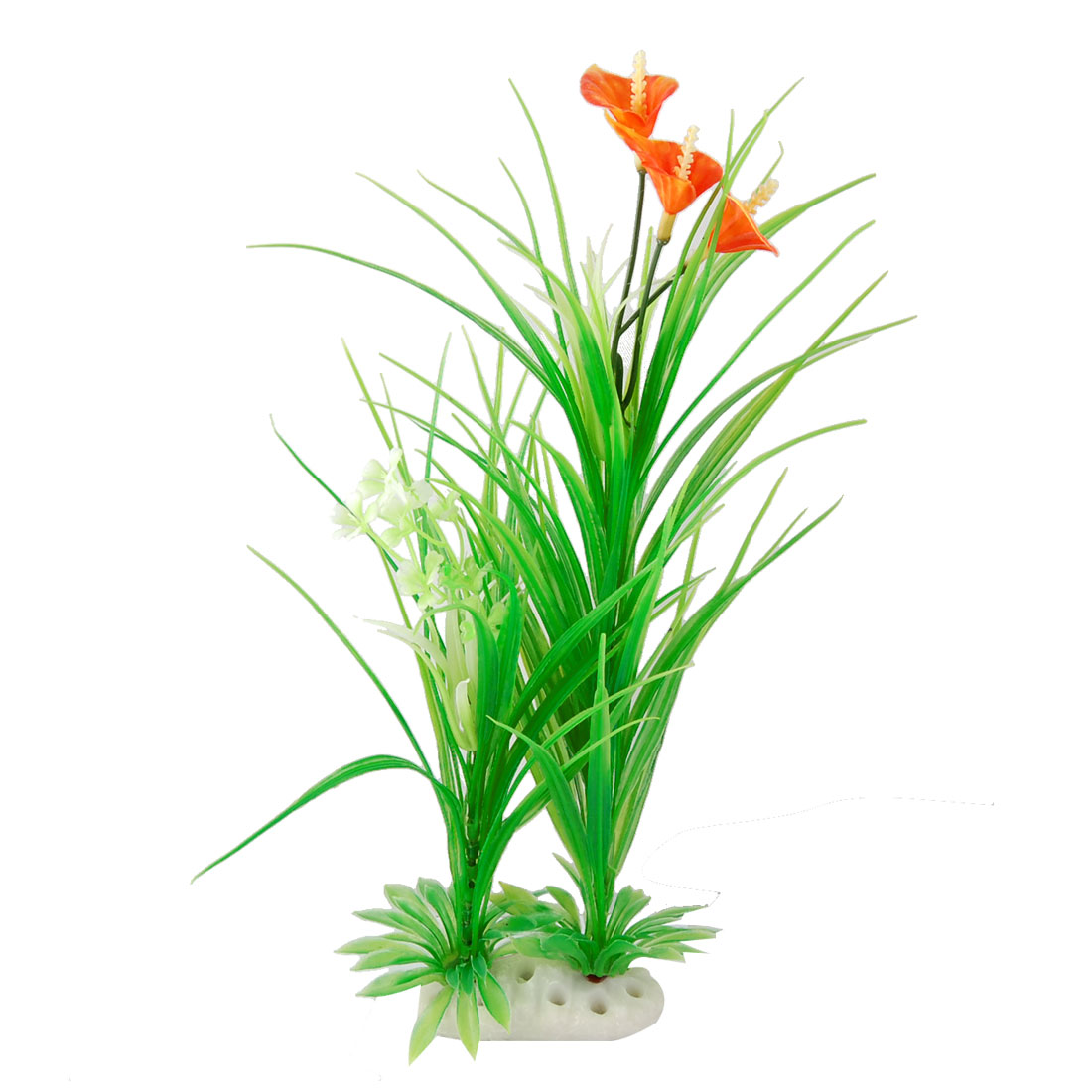 Fish Tank Green Grass Aquascaping Orange Red Floral Plant Ornament