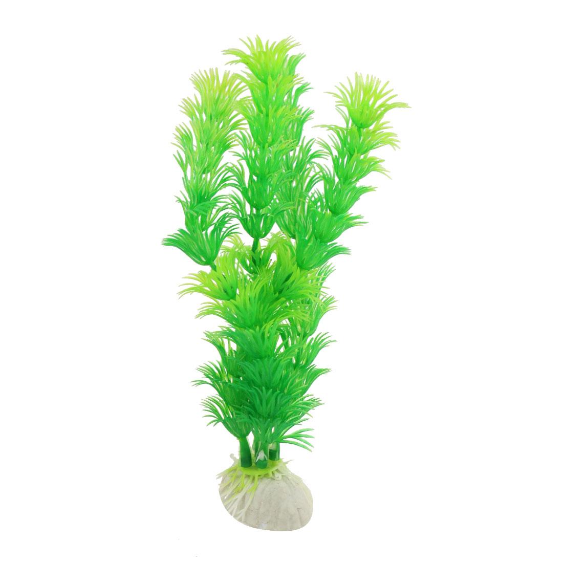 "6.7"" Green Plastic Artificial Grass Plant Decor for Aquarium Tank"