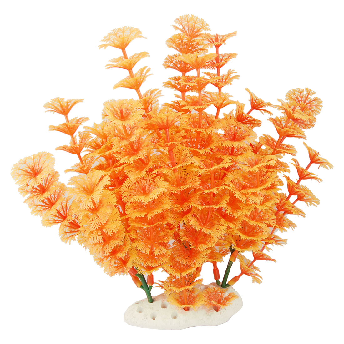 "9.4"" Orange Plastic Artificial Aquatic Plant Decor for Aquarium Fishtank"