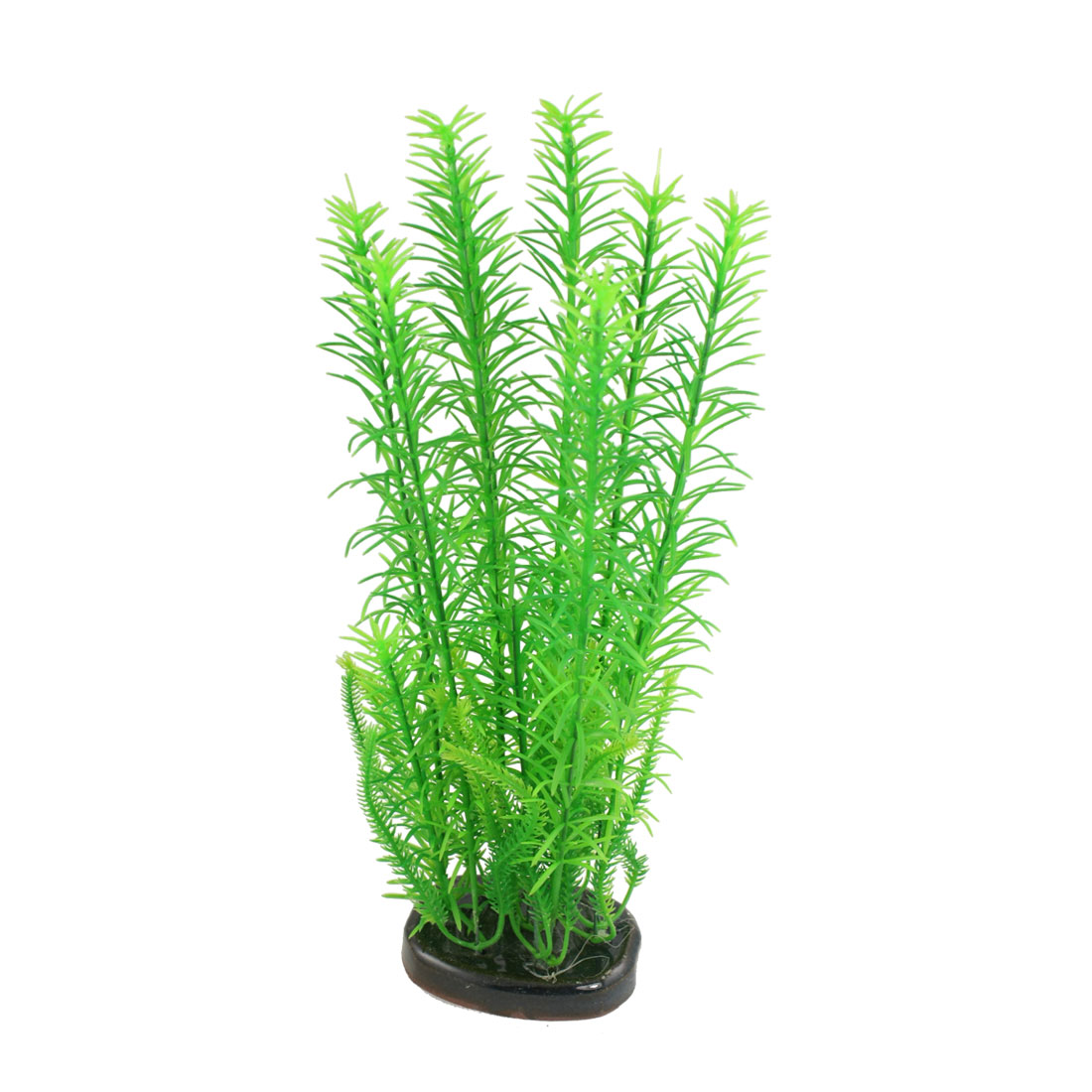 "11"" Aquarium Fish Tank Green Plastic Artificial Grass Plant w Ceramic Base"