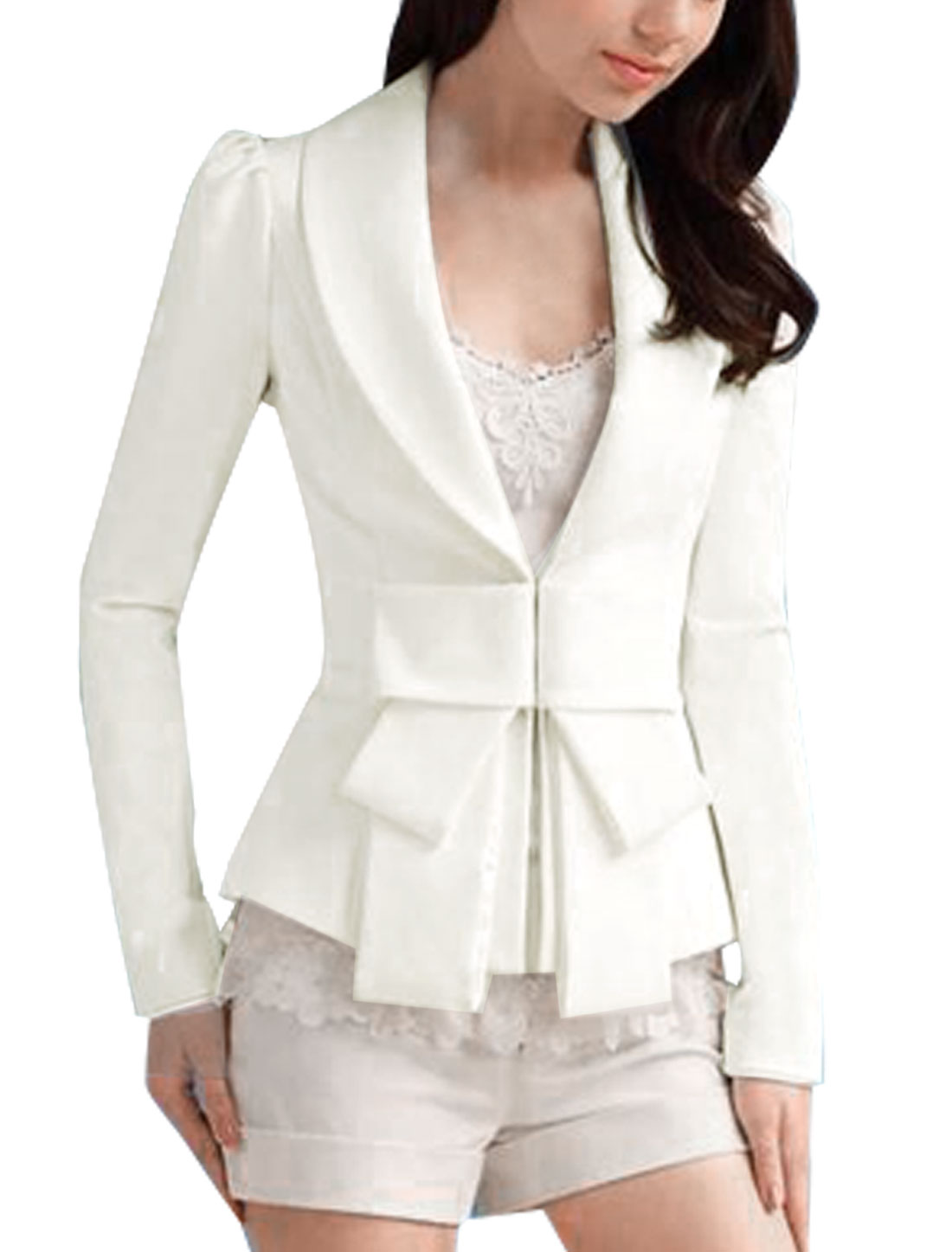 Woman White Shawl Collar Long Sleeve Hook Closure Jacket Coat L