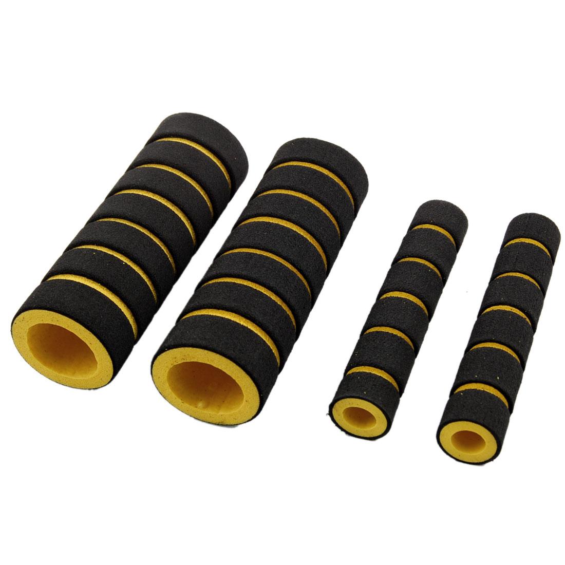 4 Pcs Replacement Nonslip Safe Bike Handle Bar Grips Black Yellow
